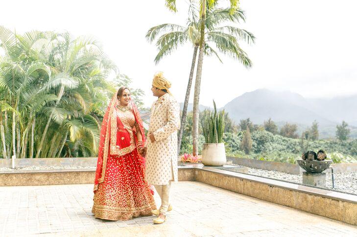 Hindu Couple at The St. Regis Princeville Resort in Hawaii