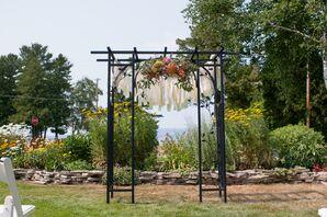 Black Wedding Arch with Peach Flowers