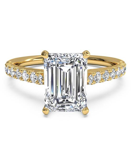 Ritani French-Set Diamond Band Engagement Ring - in 18kt Yellow Gold (0.23 CTW) for a Emerald Center Stone Engagement Ring photo