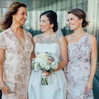 Bride, mother of the bride and bridesmaid