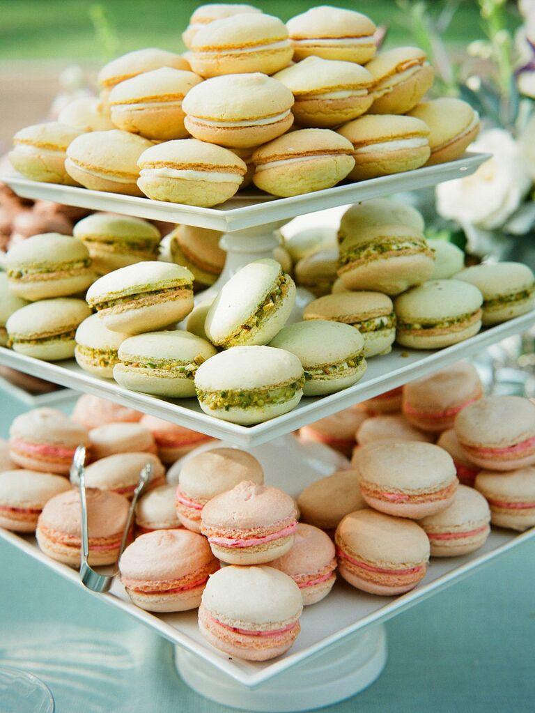 Pastel bridal shower macarons