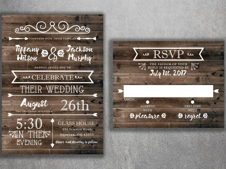 Rustic wood panel background wedding invitation and RSVP card