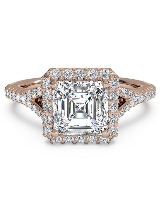 Ritani French-Set Halo Diamond 'V' Band Engagement Ring - in 18kt Rose Gold (0.23 CTW) for a Asscher Center Stone Engagement Ring photo