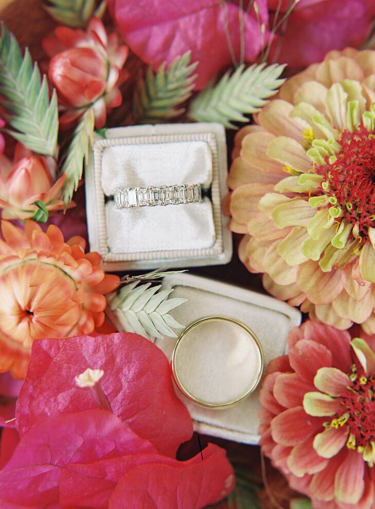 Wedding Rings Nestled Inside Bright Blooms