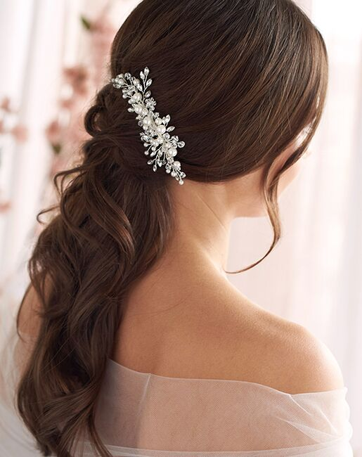 Dareth Colburn Emmy Floral Comb (TC-2293) Ivory, Silver Pins, Combs + Clip