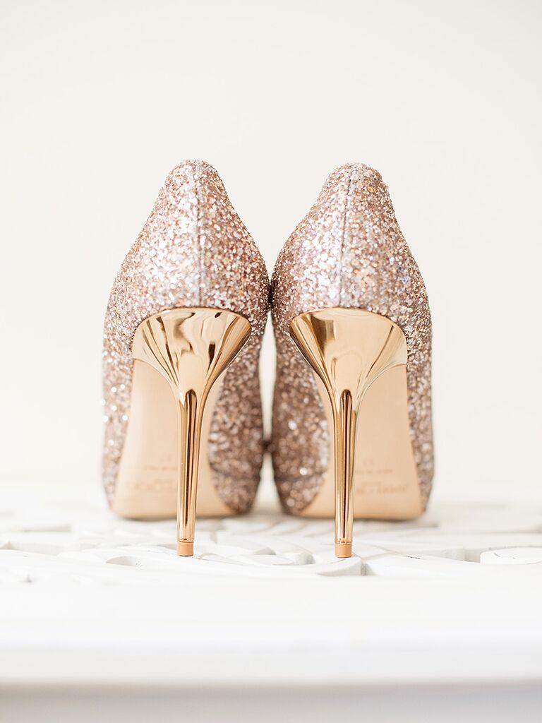 Gold glittery high heel wedding shoes