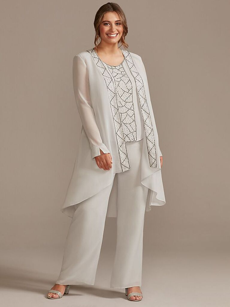 davids bridal three piece cream mother of the bride pant suit with beading