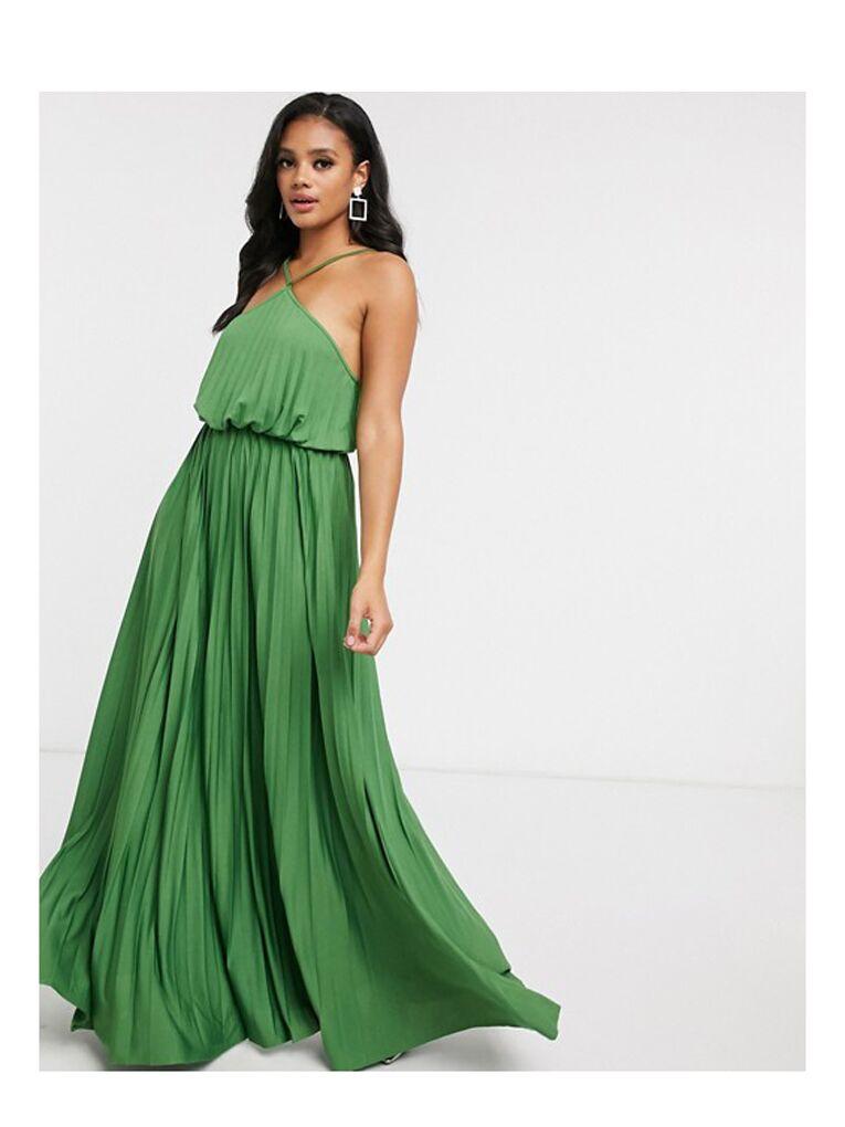 Green pleated halter top maxi dress