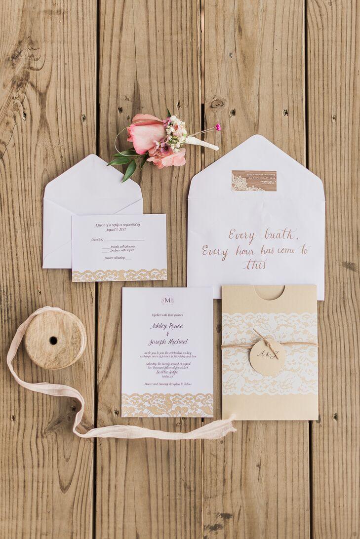 DIY Burlap and Lace Wedding Invitations