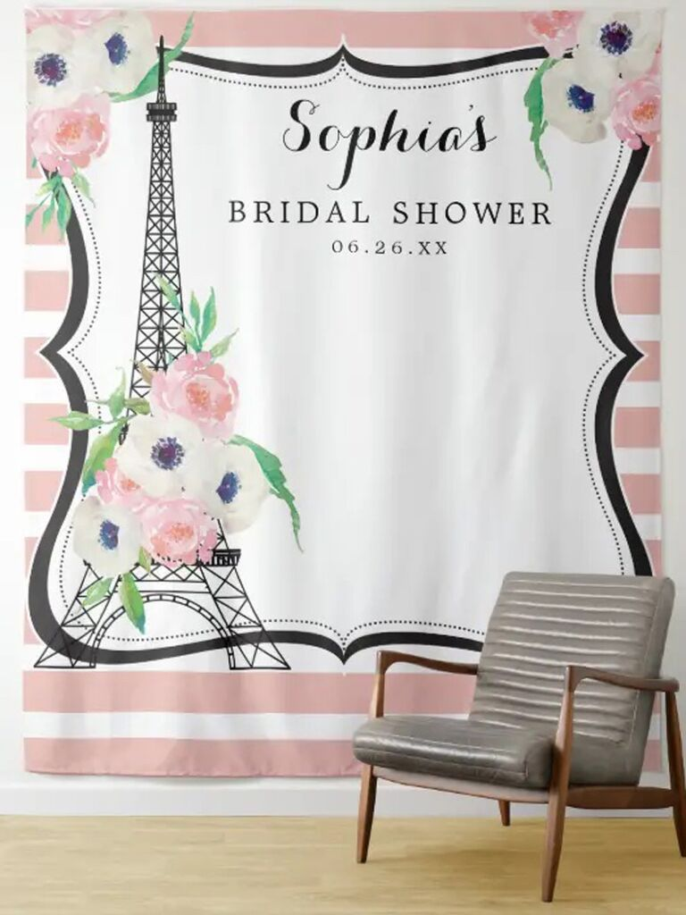 zazzle pink and white striped floral paris photo booth backdrop with black eiffel tower for paris themed bridal shower