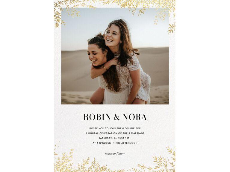 Online wedding invitation for a virtual wedding