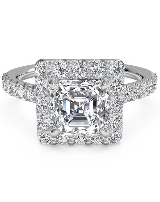 Ritani French-Set Halo Diamond Band Engagement Ring - in 14kt White Gold (0.45 CTW) for a Asscher Center Stone Engagement Ring photo
