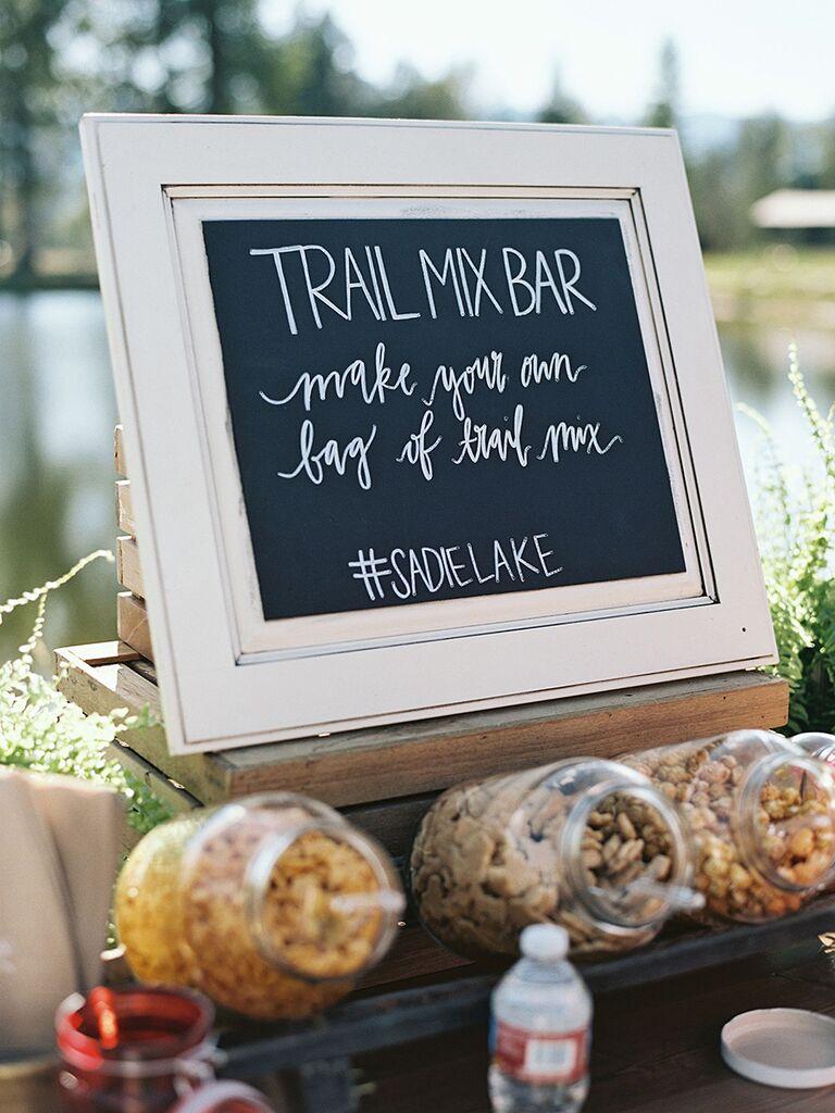 Trail mix station idea for a fun wedding brunch
