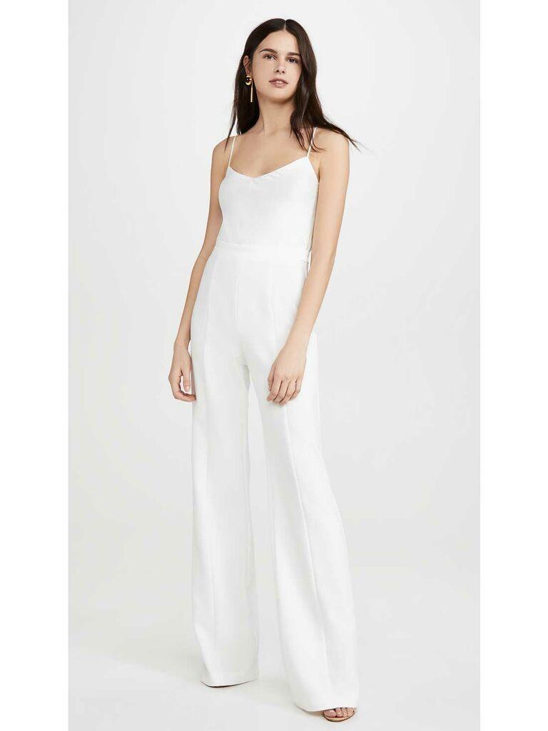 White thin strap jumpsuit