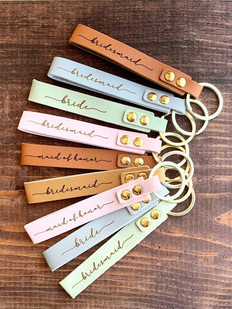leatherette bridesmaid keychain