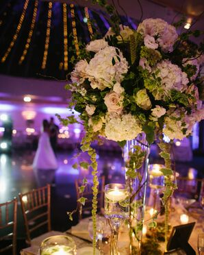 Tall Ivy, Hydrangea and Rose Centerpieces