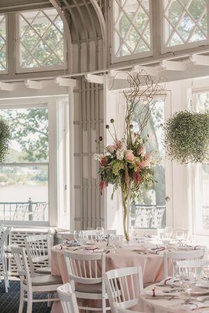Tall Wedding Centerpieces with Roses, Hydrangeas, Amaranthus and Eucalyptus
