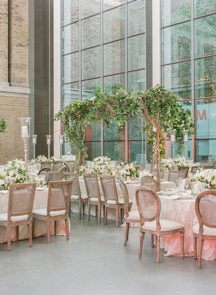 Formal Wedding Reception with Wood CHairs