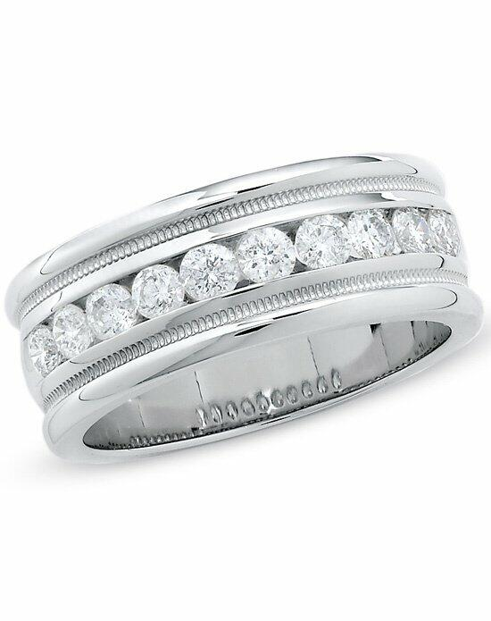 Zales Men's 1 CT. T.W. Diamond Channel Milgrain Band in 14K White Gold  19976585 Wedding Ring photo