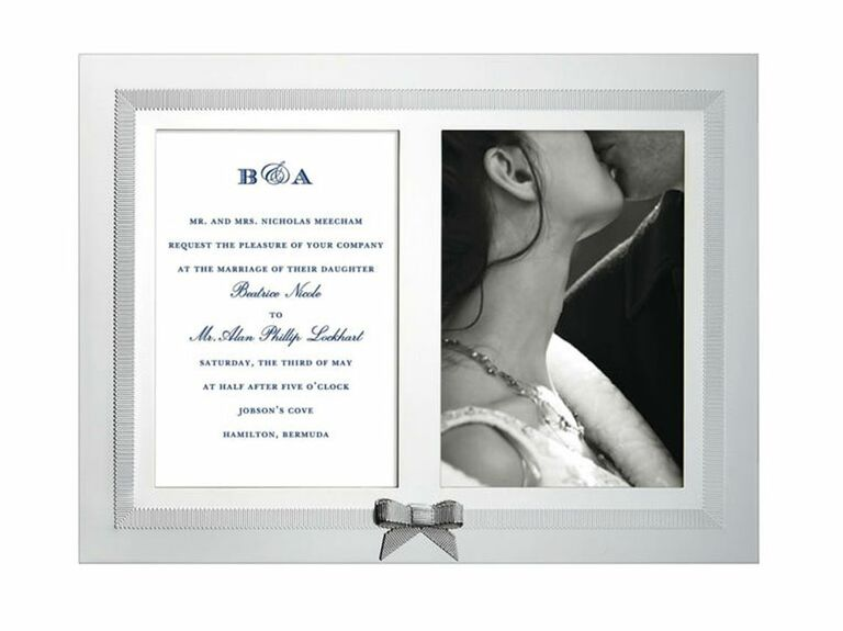 Double wedding picture frame for invitation and photo with bow detail