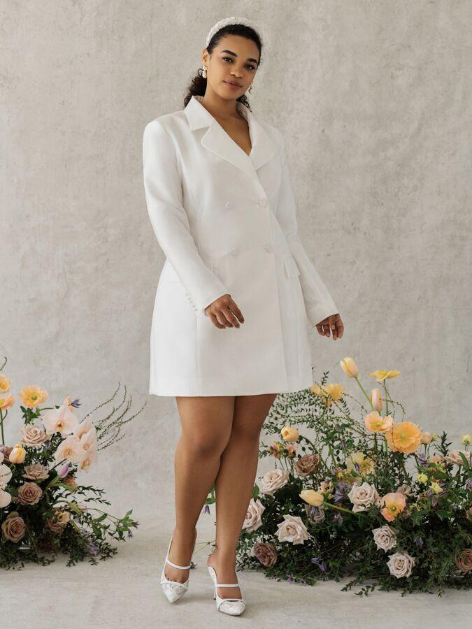 Alexandra Grecco Poppy silk blend satin mikado blazer dress