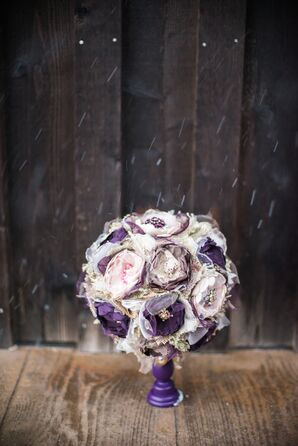 DIY Plum and White Fabric Flower Bouquet