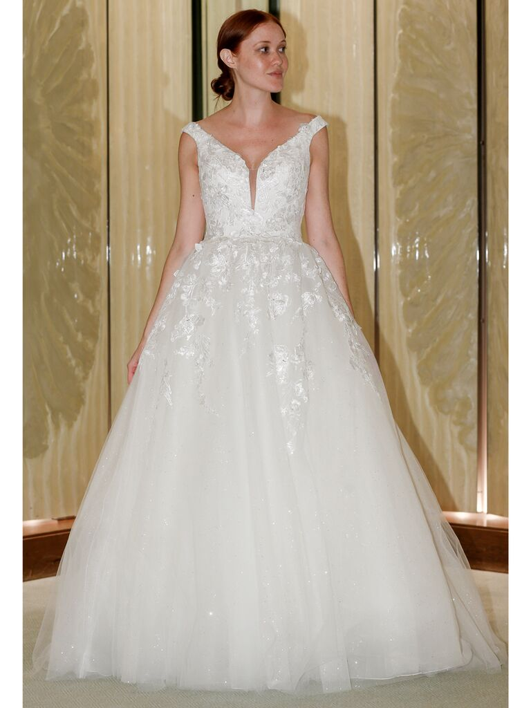 Randy Fenoli Fall 2019 Bridal Collection tulle ball gown wedding dress with plunging v-neck