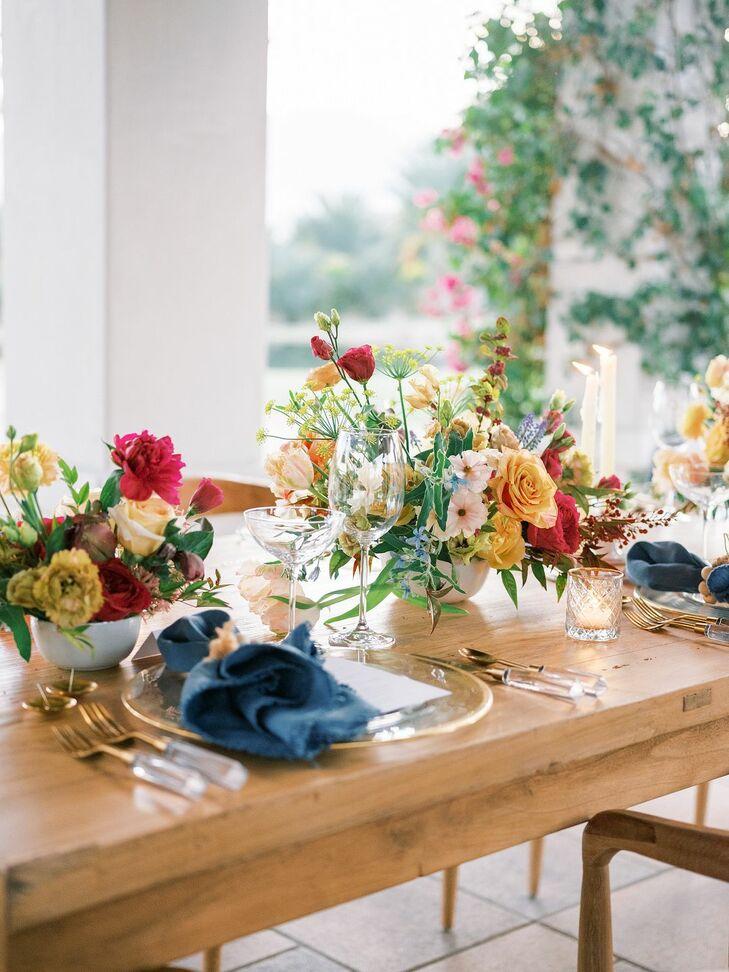 Colorful Tablescape for Reception in Coachella, California