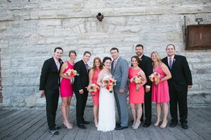Summer Wedding Party With Pop of Coral