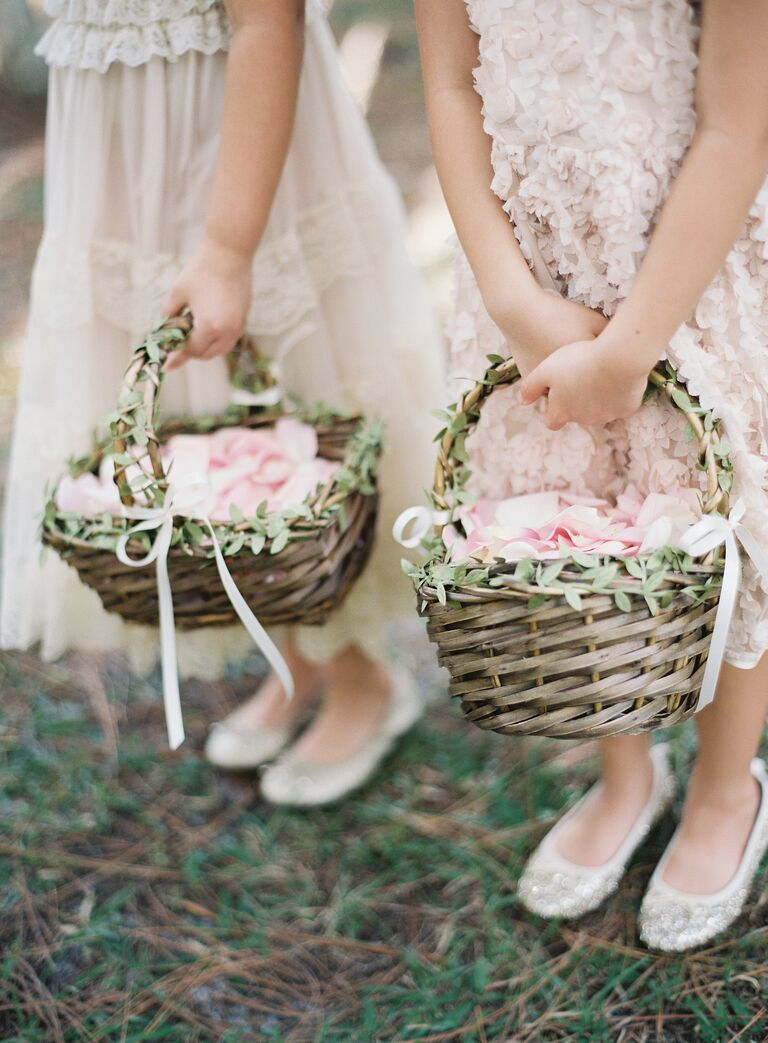 Flower girl wedding baskets with light pink rose petals