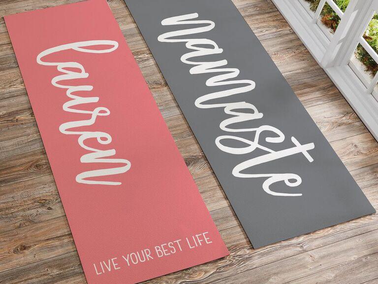 Personalized yoga mat bridesmaid gift