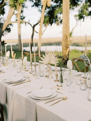 Organic Tan-and-White Place Settings at Private Estate Wedding Reception in Savannah, Georgia