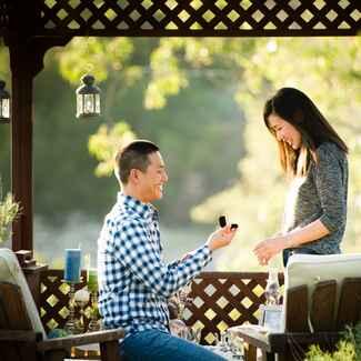 Outdoor gazebo marriage proposal