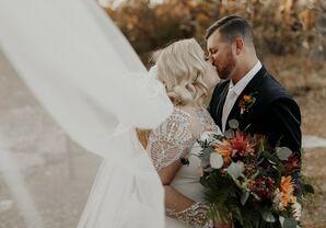 Bride and Groom at Moody Rustic Wedding