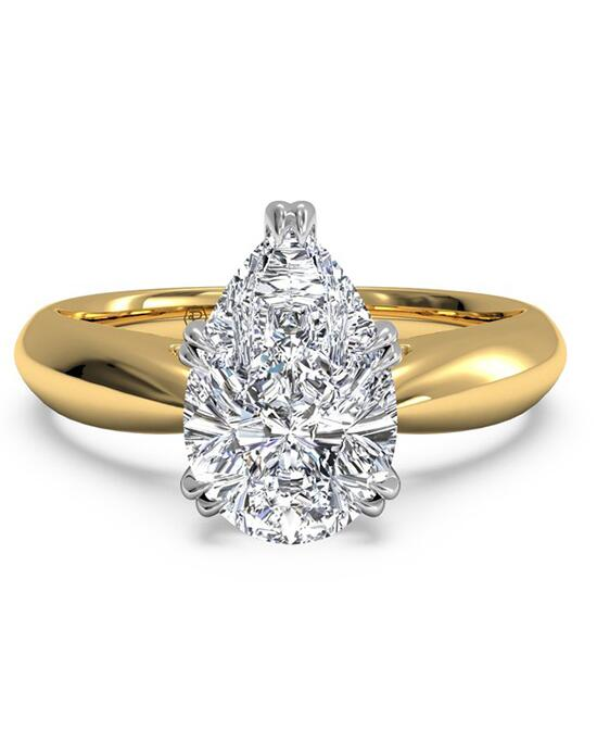 Ritani Solitaire Diamond Tulip Cathedral Engagement Ring - in 18kt Yellow Gold for a Pear Center Stone Engagement Ring photo