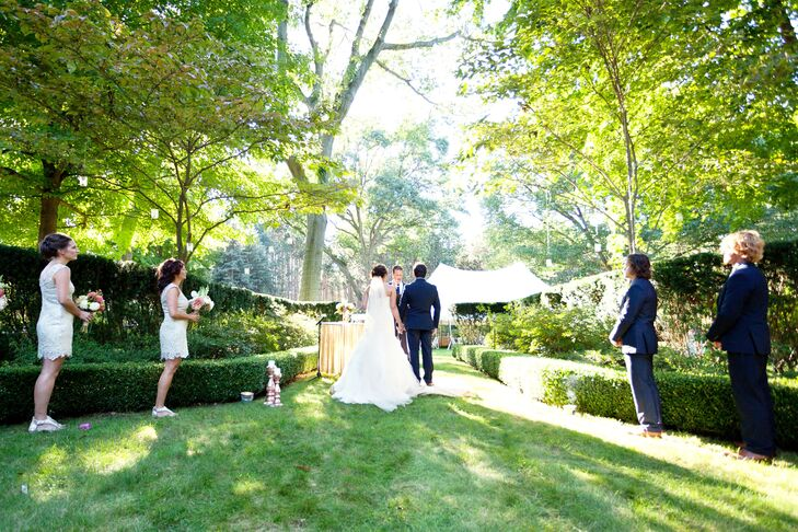 The couple exchanged vows outdoors at a private residence in Saugatuck, Michigan, in a 15-acre rhododendron nursery.