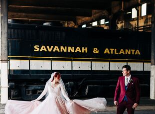 """For their industrial-chic wedding, Hana and Eddie Holecko drew inspiration from the Tim Burton movie <i>Big Fish</i>—""""whimsical, romantic and a bit m"""