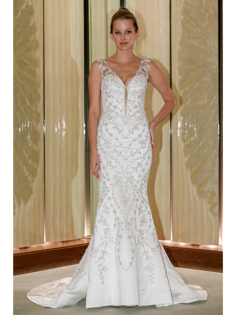Randy Fenoli Fall 2019 Bridal Collection beaded trumpet wedding dress with illusion sleeveless keyhole bodice
