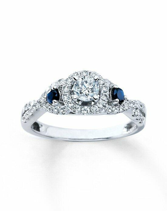 Kay Jewelers Diamond/Sapphire Bridal Engagement Ring 3/4ctw Round 14k White Gold Engagement Ring photo