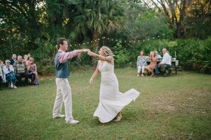 Casual Bride and Groom Dancing at Birdsong Nature Center