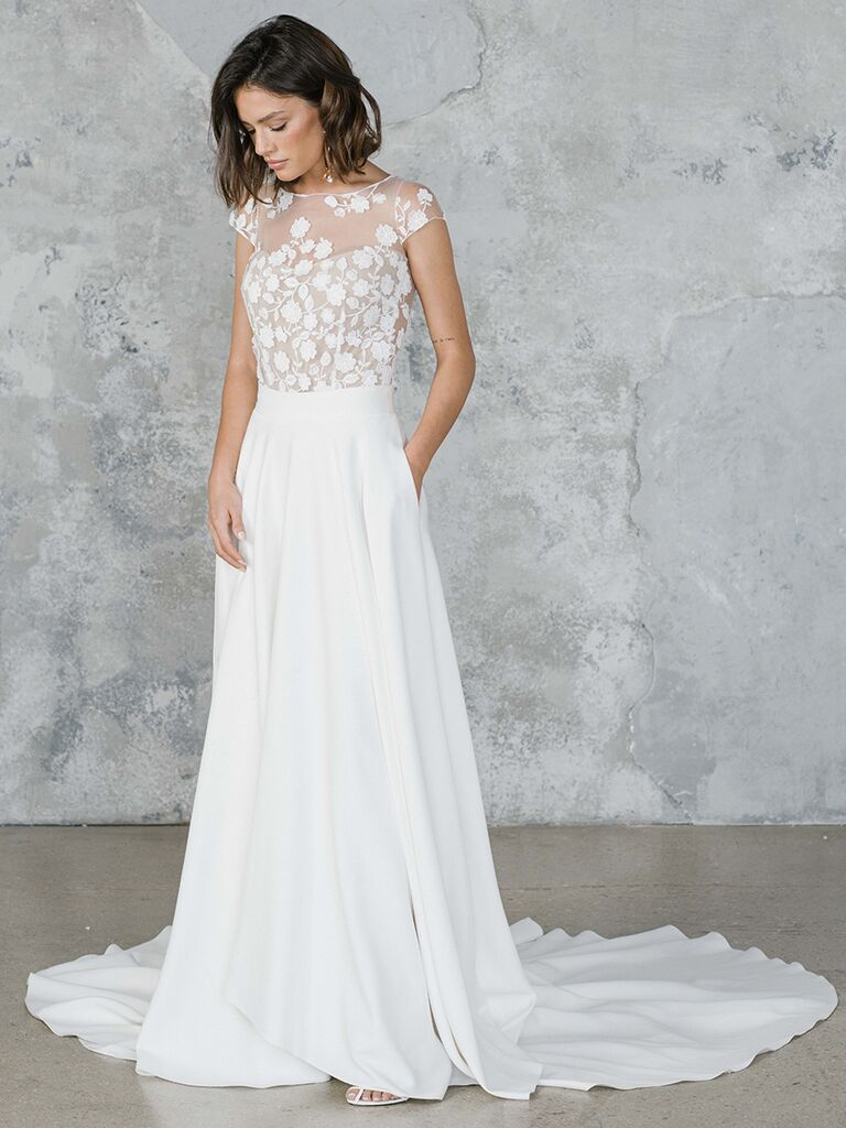 Wedding dress with sheer lace embroidered top