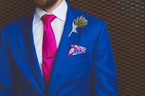 Blue Groom's Suit With Pink Tie