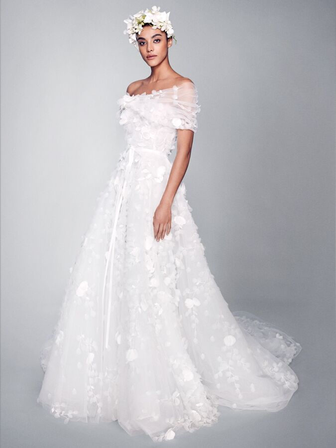 Marchesa wedding dress with 3-D floral details