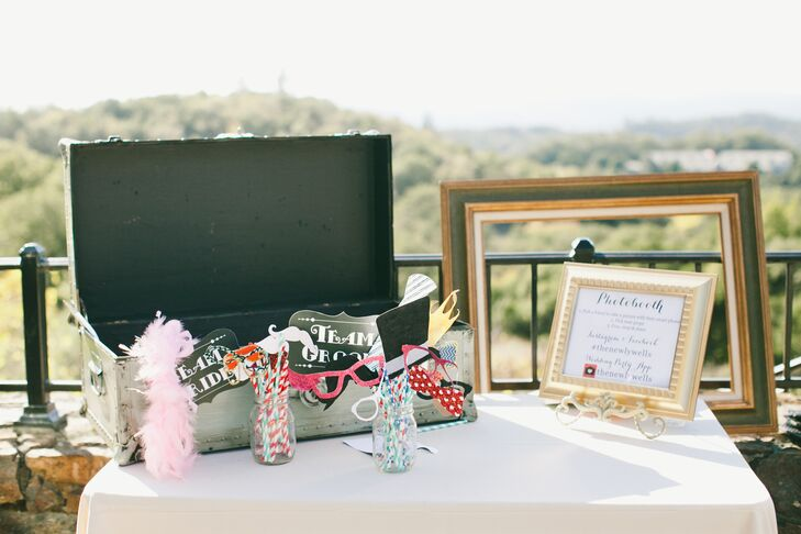 After dinner, guests hit the dance floor or wandered outdoors to the terrace where Nicki and Jordan had set up a photo booth. Guests struck a pose with playful props like sunglasses, boas and speech bubbles with wedding-related phrases and tagged the photos on Instagram for the newlyweds to look at later.