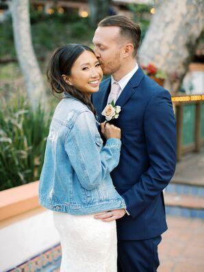 Bride in Denim Jacket for Wedding at Rancho Las Lomas in Silverado, California