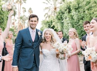 """Audrey Wayne and Max Riccio love the """"mid-century charm"""" of Palm Springs, so they got married at The Frederick Loewe Estate. """"The view, the architectu"""