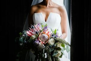 Modern Protea Bouquet for Wedding at The Chicago Art Institute