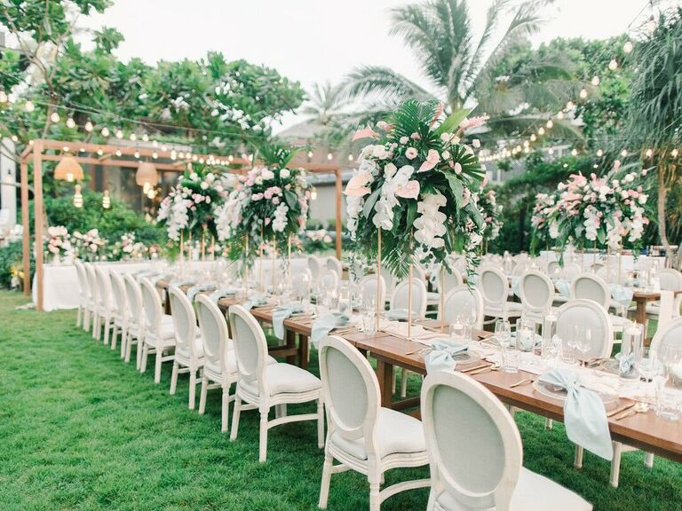Wedding Centerpieces Tall and Tropical