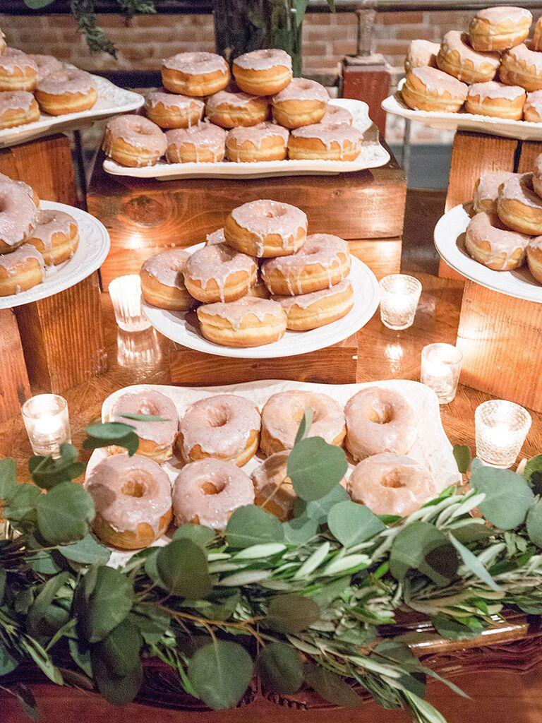 Doughnut dessert station for a wedding reception