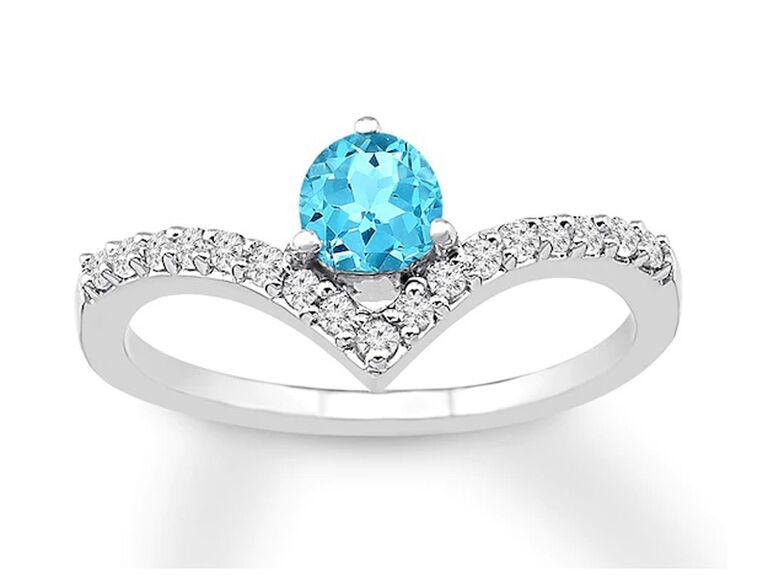 jared round aquamarine engagement ring with diamonds and white gold band